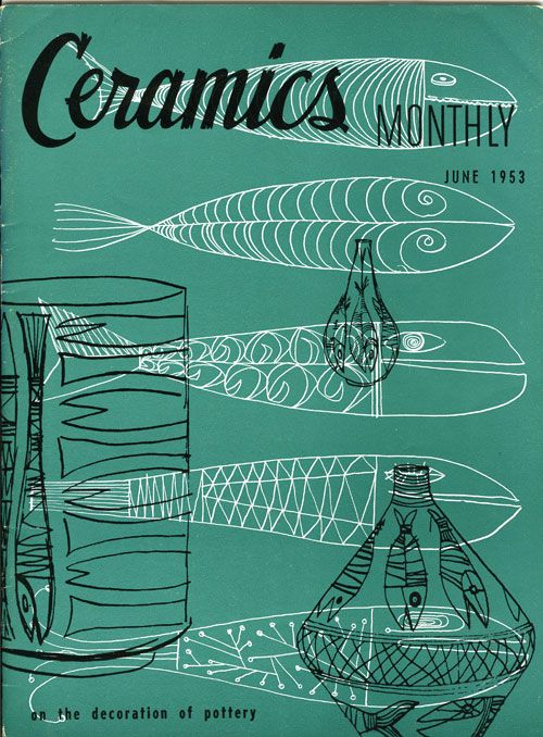 ceramics monthly magazine covers 1953 - 54. Anyone know the artist who did the covers??