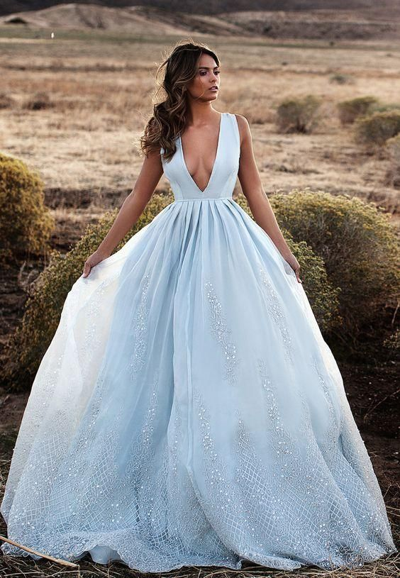 Long Prom Dresses 2016 Light Sky Blue Deep V Neck Lace Sequins Formal Chiffon Evening Gowns Custom Made Free Shipping