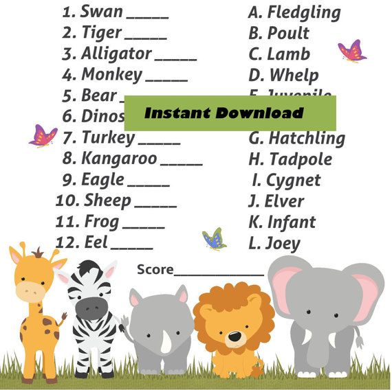 Name The Baby Jungle Safari Baby Animal Shower Game   Zoo Animal Theme, Baby  Shower Baby Animal Game, Guess The Baby Animal Game, Printable