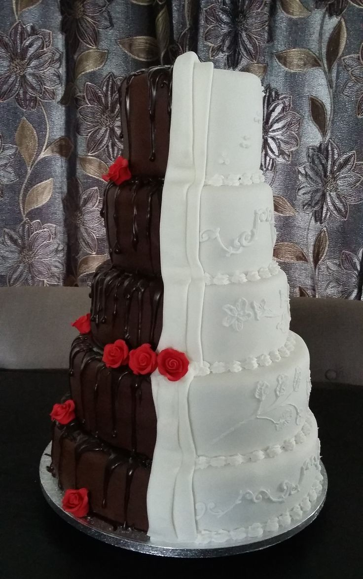 Half & Half Lace & Chocloate Wedding Cake- Side  View