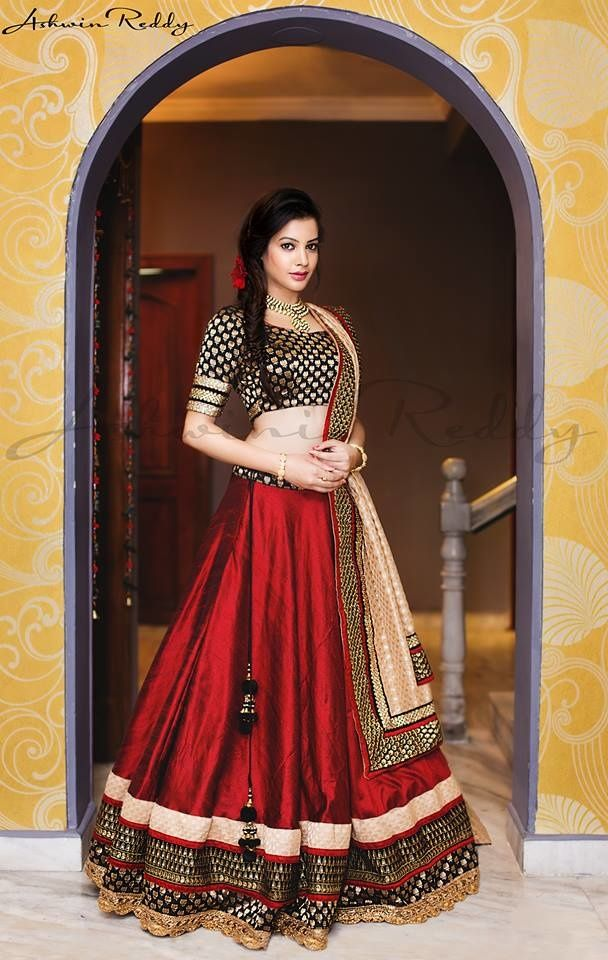 Light Lehengas - Black and Maroon Silk Lehenga with Copper Border and Beige…