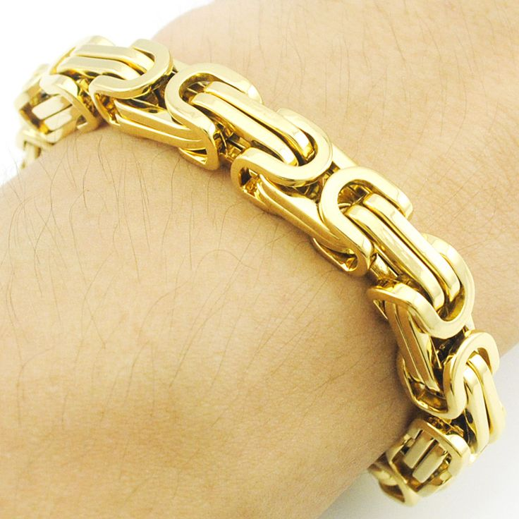 Promotion! Men's Bracelets Gold Chain Link Bracelet Stainless Steel 8mm Width Byzantine Wholesale High Quality BB247