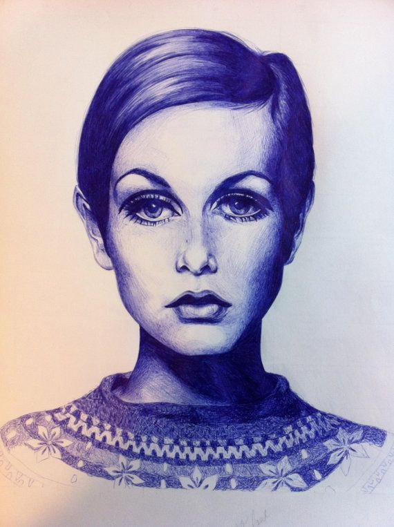 Twiggy Portrait - Original pen and ink drawing