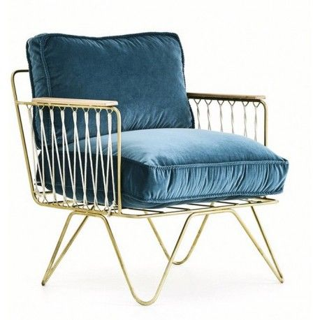 fauteuil croisette honor velours bleu p trole blue velvet single sofa and palm springs. Black Bedroom Furniture Sets. Home Design Ideas