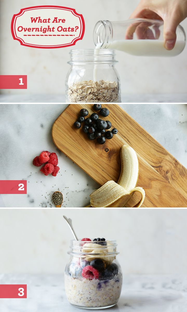 What are overnight oats? Put simply, they are (1) a tasty combo of Old Fashioned Quaker® Oats soaked in low-fat milk along with (2) your favorite combo of fruits, nuts or spices (3) mixed together in a jar and chilled in a refrigerator overnight. You can eat overnight oats cold the next morning or microwave 'em for a minute or two if you like your oats warm. Bon appétit!  RECIPE INGREDIENTS:  1 cup Quaker® Oats ⅓ cup blueberries ⅓ cup raspberries ⅓ cup bananas 1 tsp chia seeds