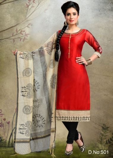 Shreedevi Textile Coimbatore-Maroon Colored Chanderi Silk Salwar-501