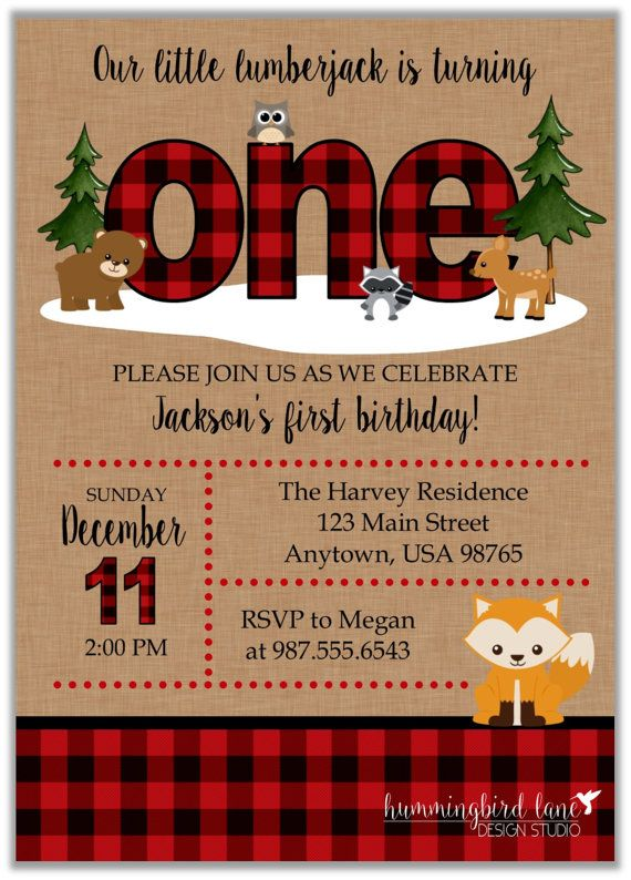 buffalo plaid invitation first birthday