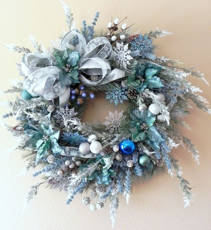 christmas wreaths with blue decorations | Blue and Silver Wreath | Christmas Decor Etc.