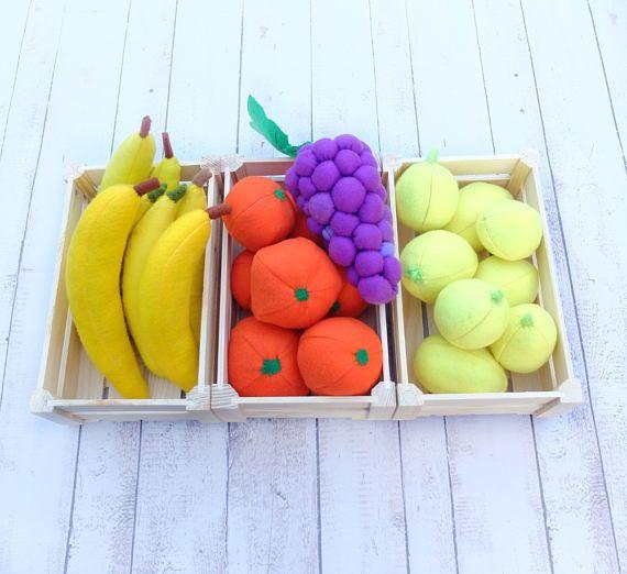 Grape Bunch Farmers Market Pretend Food Felt Fruit Full-Sized