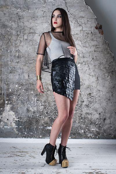 Spódnica ze strukturą - MagdalenaMol - Spódniczki mini