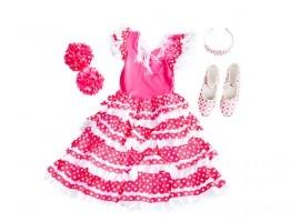 Spaanse jurk pakket Señorita roze/wit + GRATIS haarband + GRATIS Bloem