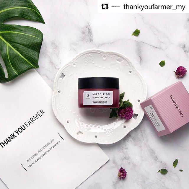 Available in Malaysia 🇲🇾  #Repost @thankyoufarmer_my   The ultimate treatment to rejuvenate the delicate skin around the eyes, Miracle Age Repair Eye Cream restores skin's moisture levels and smooths out fine lines.  .  Available in www.zalora.com.my  www.urcosme.my  www.hishop.my  .  미라클 에이지 리페어 아이 크림  Miracle Age Repair Eye Cream  .  #thankyoufarmer #thankyoufarmermy #skincare #naturalingredients #kbeauty #koreanbeauty #koreanskincare #eyecream #malaysia #malaysian #땡큐파머