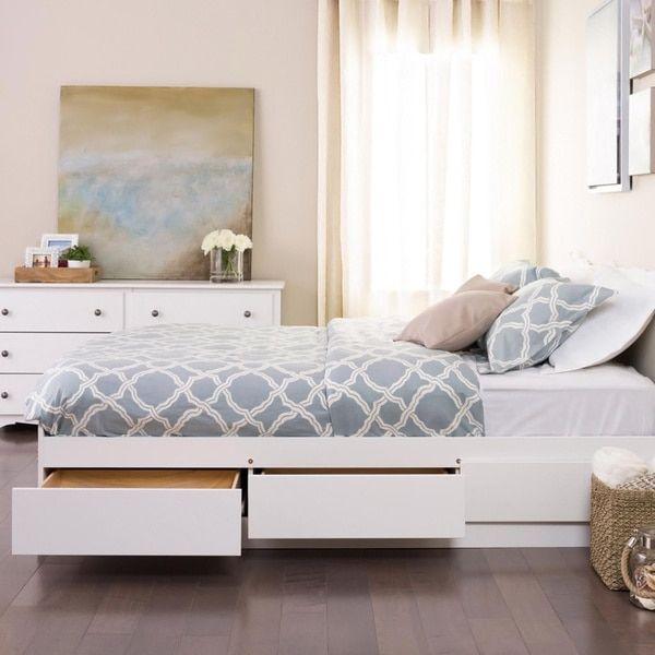 prepac winslow white queen platform storage bed - White Queen Bed Frame