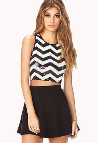 skirt forever 21 crop tops black skirt all cute outfits tank top