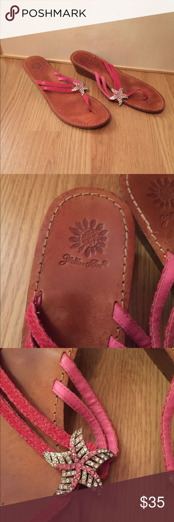 Yellow Box Starfish Sandals sz 8.5 Pretty starfish sandals by Yellow Box in size 8.5. Leather uppers. Used twice. Coral color. Yellow Box Shoes Sandals