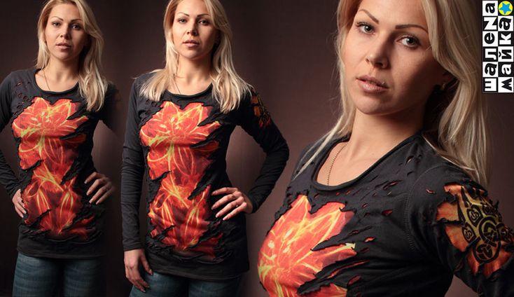 Футболка огненный-цветок_рваная (Прикольная футболка, Рванные футболки). Можно купить в интернет-магазине Шалена Майка
