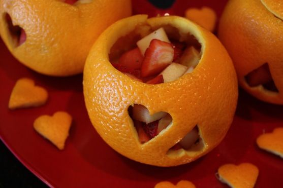 I need to make some of these orange heart shaped fruit cups.  It would be a unique appetizer/dessert for a special occasion!