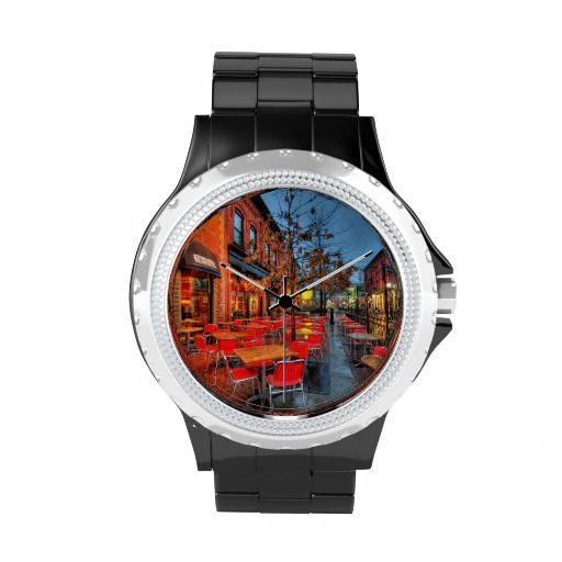 Patio in the rain at night wristwatches