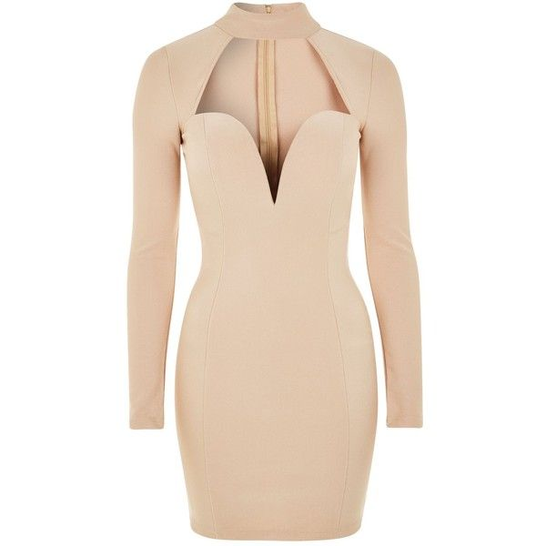 Cut Out Plunge Choker Midi Dress by Rare ($74) ❤ liked on Polyvore featuring dresses, body con dresses, long sleeve mini dress, cut out dresses, beige cocktail dress and mini dress
