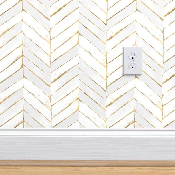 Peel And Stick Removable Wallpaper Chevron White Stripe Herringbone Mod Gold Walmart Com Walmart Peel And Stick Wallpaper Chevron Wallpaper Wallpaper Roll