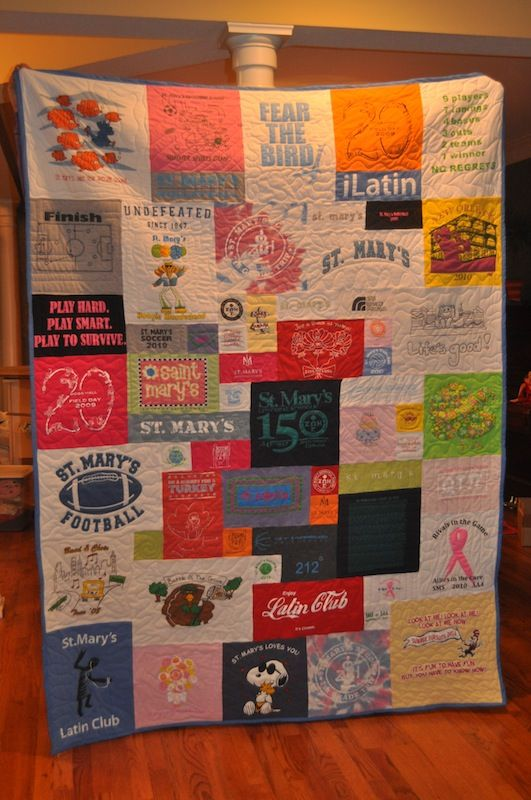 "T shirt quilt - i like this version with different sized squares < was thinking about doing this with sweatshirts as well, tie off using bright colorful embroidery thread. use a surgeons knot, this will insure when washing that the knots will not come undone .. what is a surgeon's knot?? instead of going through once with a ""crossover"" go through the loop twice, then do it again ..."