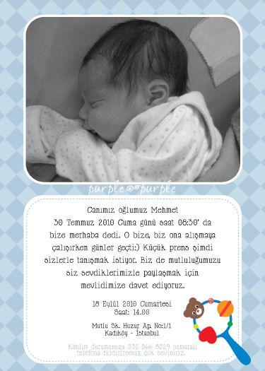 Erkek bebek için mevlid davetiyesi