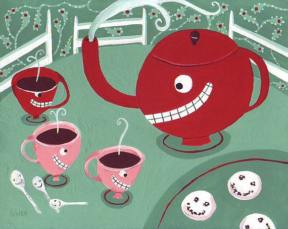 Whimsical and Funny Tea Folk Art Print  8x10 Tea Cups in by 3crows, $18.00