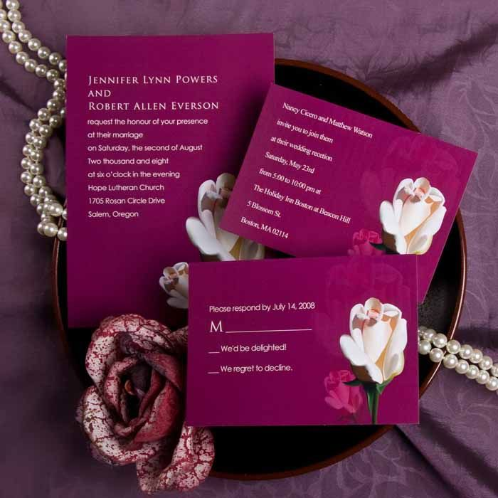 elegant purple and pink rose wedding invitations