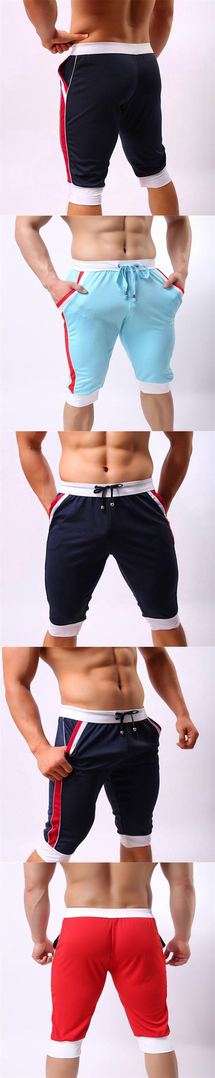 Mens Capri Pants Mens Joggers Summer Casual Trousers Slim Fit Elastic Waist White Navy Blue Casual Harem Pants Men Sportswear