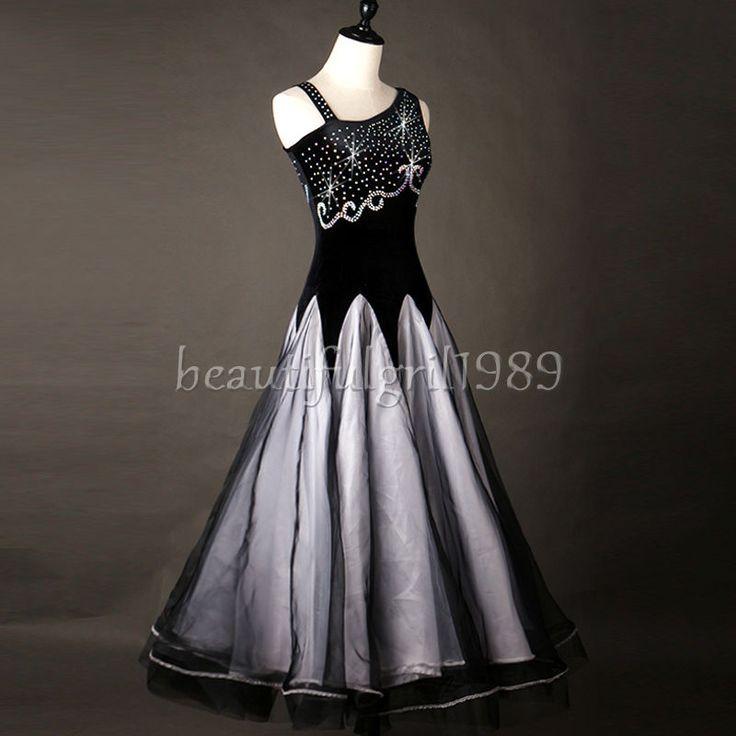 Ballroom Dance Dress Modern Waltz Standard Competition Rhinestone Dress#FM242 | eBay