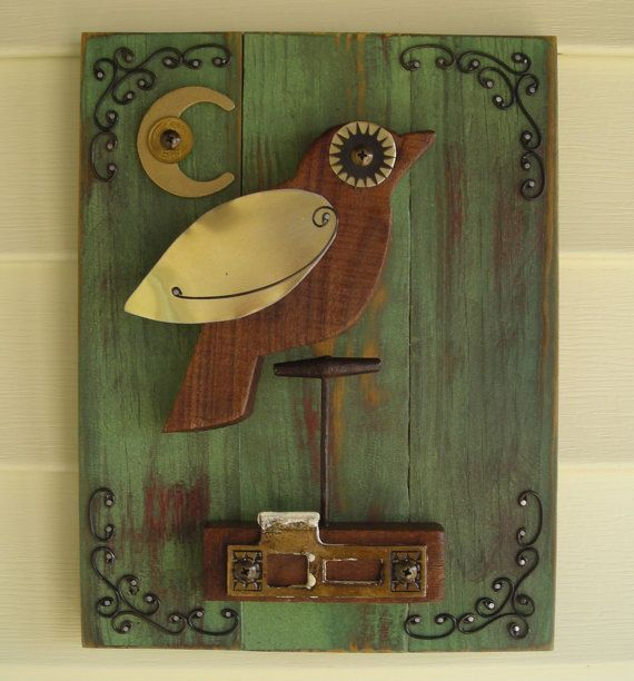 found object bird assemblage barn wood home decor wall art steampunk repupose upcycle. Black Bedroom Furniture Sets. Home Design Ideas