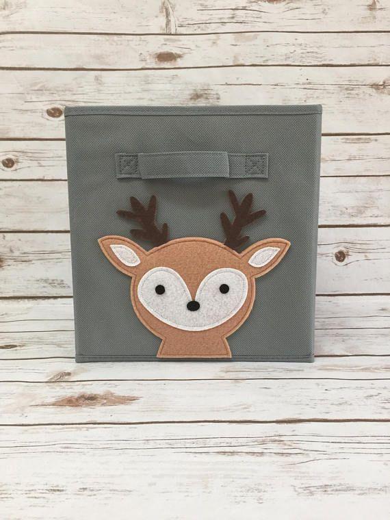 Woodland Deer Storage Bin Nursery Decor Fabric S Basket Room Toy