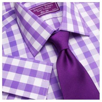 Jermyn Street Shirt Company Fenchurch purple bloomsbury check slim fit shirt. Sale $59.95