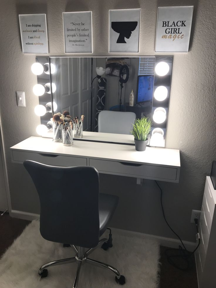 Loved the finish product! Love experimenting with materials. PVC edging instead of wall anchors to secure mirror. No extension cords. Wired everything into wire power cord for longevity and safety purposes