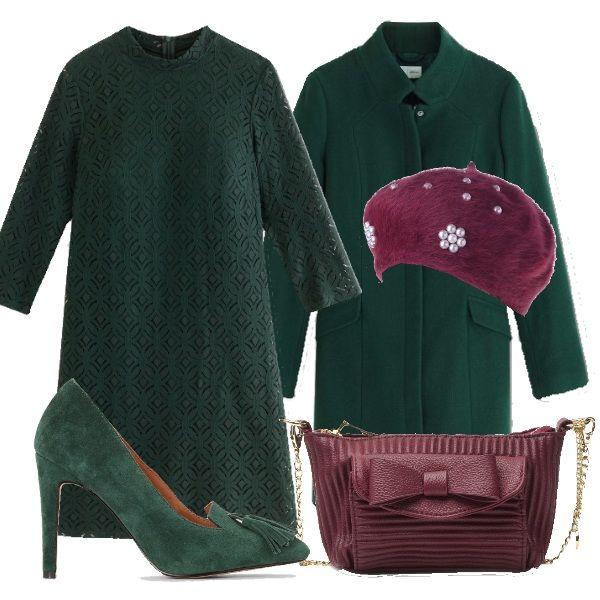 Si dice che chi di verde si veste in sua beltà confida, allora perchè non confidare nella nostra beltà? Qui vi propongo un outfit quasi completamente verde spezzato da borsa e cappello in una particolare tonalità di bordeaux.