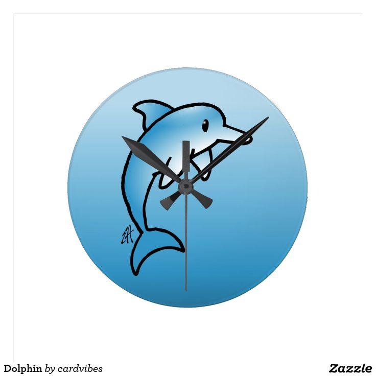 Dolphin wall clock. #Zazzle #Cardvibes #Tekenaartje #NEW