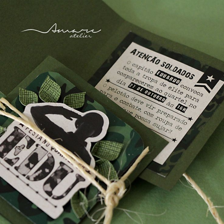 Convites artesanais handmade * Design feito com amor! By #amareatelier | Quartel do Edu | #exercito #party #army #birthday #boy #scrap #diy #invites |  facebook.com/amareatelier