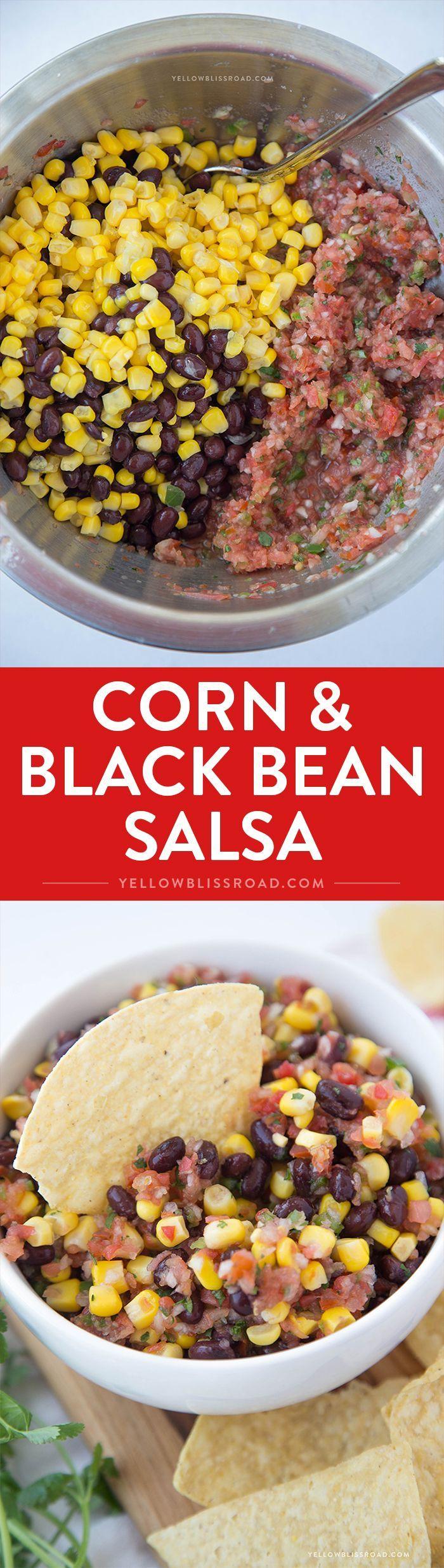 Corn & Black Bean Salsa - easy, fresh salsa with corn and black beans