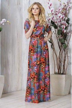 Яркое летнее молодежное длинное платье
