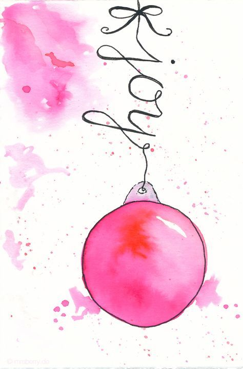 "watercolor christmas card with ornaments | DIY | Weihnachtskarten aquarellieren mit Tombow Bruh Pens | © <a href=""http://mrsberry.de"" rel=""nofollow"" target=""_blank"">mrsberry.de</a>"