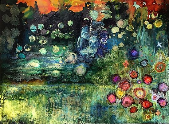 """Daily Painters Abstract Gallery: Original Contemporary Abstract Alcohol Ink Painting """"THE FIREFLY BALL"""" by Contemporary New Orleans Artist Lou Jordan"""