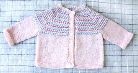 Candy Cardigan - free knitting pattern - Pickles. no assembly when done