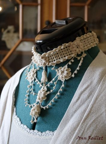 "[gallery ids=""6987,6988″ type=""rectangular""] Crochet Bib Necklace by Ann Reillet By definition, a bib necklace is any pendant decoration that covers a broad section of the c…"