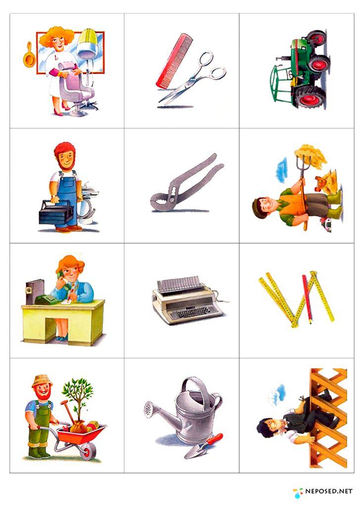 Emparejar profesiones y herramientas, varias laminas. Buena web