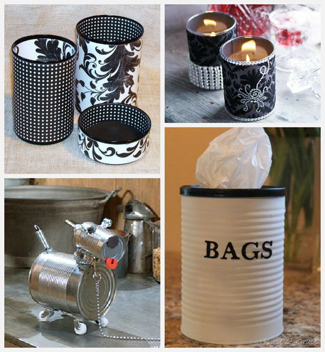 Tin can crafts that are fun, inexpensive and easy to make! For more ideas and tutorials, go to decoratingfiles.c... #crafts #tincancrafts