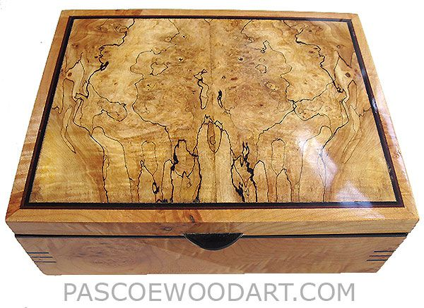 10 7 4 300   Handcrafted wood box - Decorative wood keepsake box made of solid caruly maple burl with spalted maple burl top
