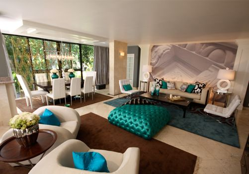 david-bromstad-concentric-turquoise-brown-modern-room.png (501×351)