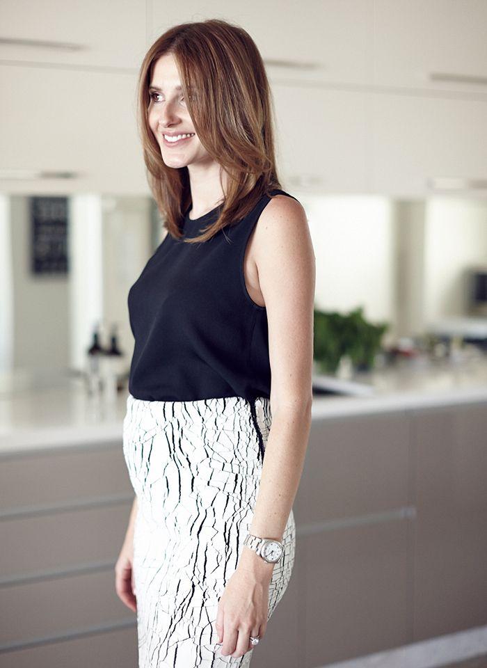 Kate wears Scanlan & Theodore top and Balenciaga skirt