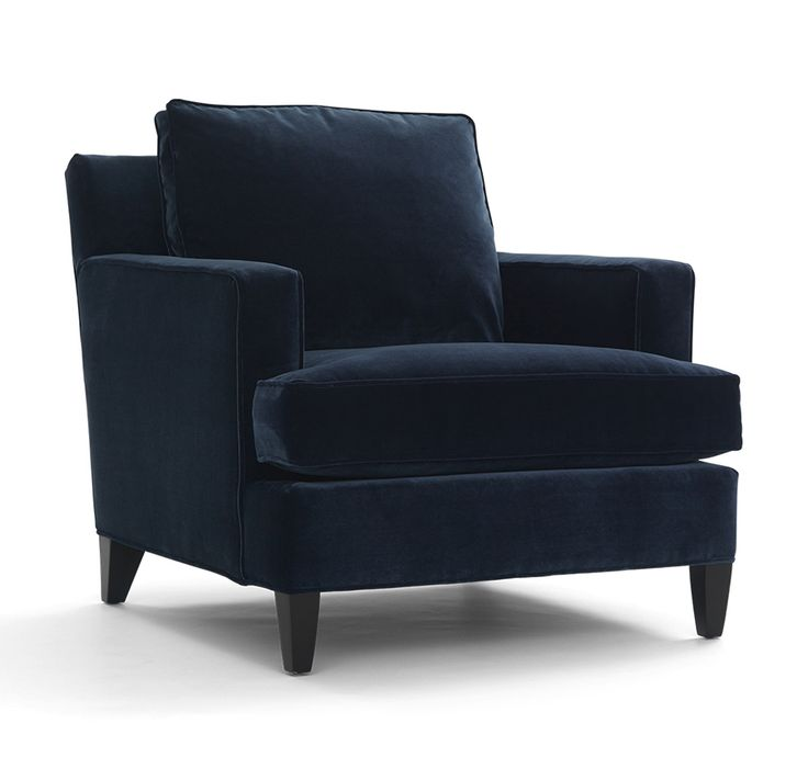 Navy blue club chair deco streamlined club chair in navy for Navy blue chair and ottoman