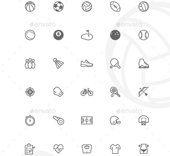 cool 34 Cool Sport Icons Design Templates(vectors)